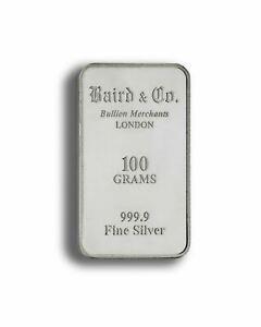 SILVER BAR 100 grams 999 - Baird & Co ** BRAND NEW SEALED **