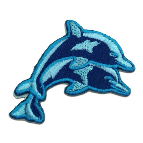 Aufnäher // Bügelbild Baby Delfin Patches Aufbügeln 6.9 x 4.1 cm blau