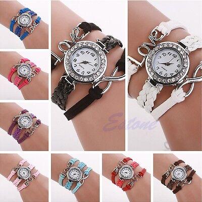 Women Infinity Love Bracelet Bangle Leather Braided Crystal Quartz Wrist Watch