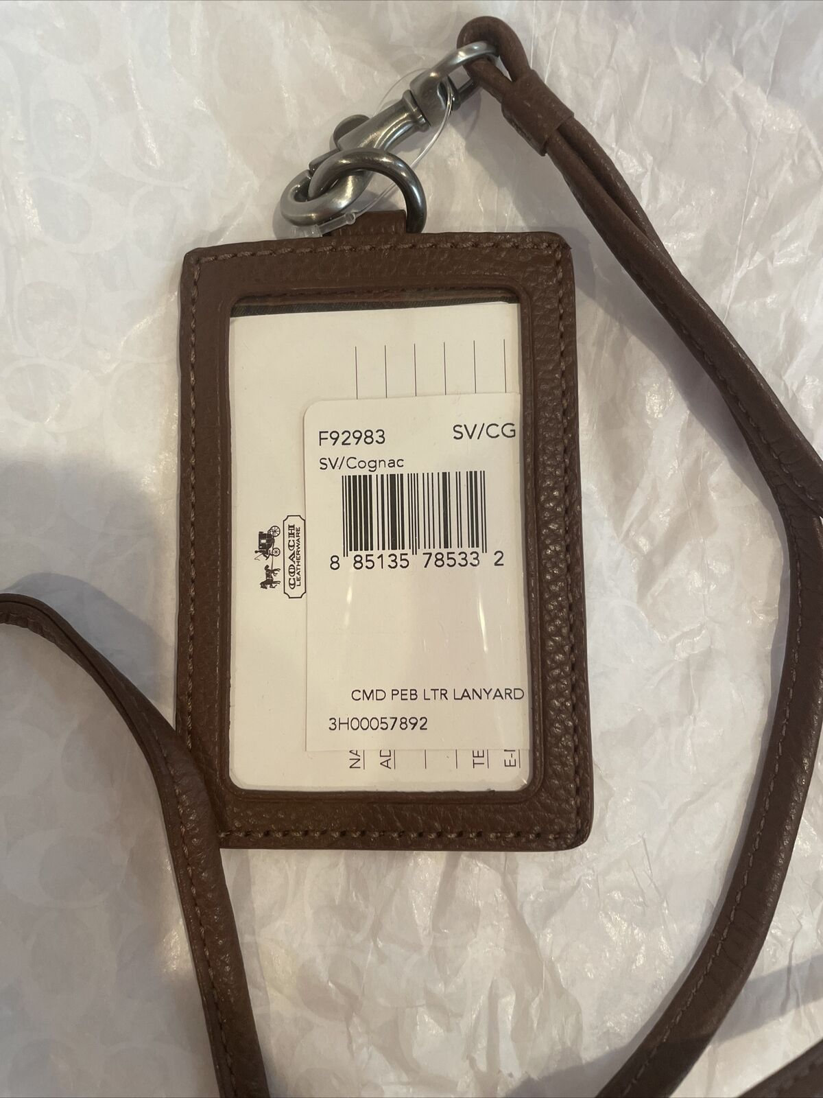 Coach Camden Lanyard ID Holder F92983 Cognac Brown Pebbled Leather Antique Brass