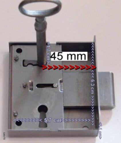 Kastenschloss Eisen Dornmaß 45 mm  mit Schlüssel links+rechts antik Retro Möbel