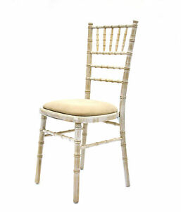 Image Is Loading New Limewash Chiavari Chairs With Ivory Seat Pad