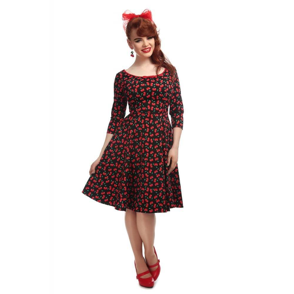Collectif Collectif Collectif Vintage Willow Small Cherries Doll Dress Sz 8 - 22 1950s 5c2b9c