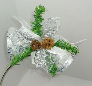 GLITTER SILVER BELLS HOLLY LEAVES PINE CONE CLIP-ON CHRISTMAS ORNAMENT   eBay