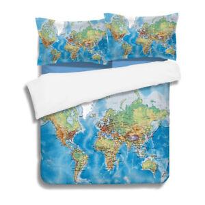 World Map Bedding Set Print Duvet Cover Sets Comforter Cover Pillow ...