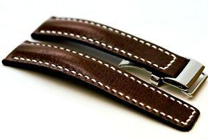Fit-Breitling-Leder-UHRENARMBAND-Handmade-Band-24-22mm-Navitimer-Schnallenverschluss