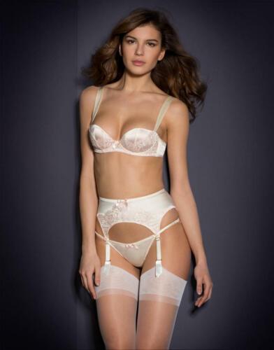 BNWT Agent Provocateur pink cream silk ABBEY Suspender belt size AP4 12 40 US 8