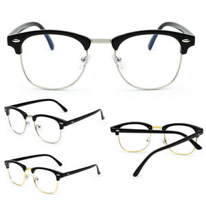 7637a1dbf49 Fashion Clear Lens Glasses Vintage Half-Rim Men Women Oval Eyeglass ...