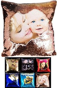 Personalised-Sequin-Cushion-Cover-Printed-Photo-Magic-Reveal-Mermaid-Gift-New