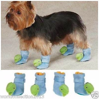 Casual Canine DINO Dog Slippers SMALL Blue (4 slippers in each zippered bag)