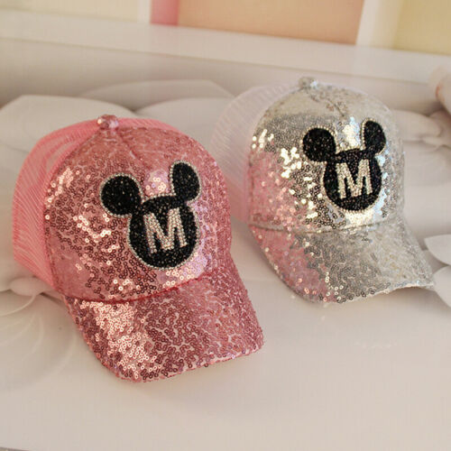 Kids Boys Girls Peaked Cap Sequin Baseball Hats Mickey Mouse Adjustable Hip Hop