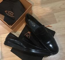 Tod's Black Leather Wedge Penny Loafer Size US 13 Tod's 12 Made In Italy