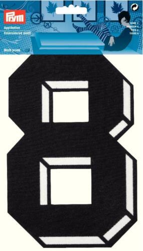 weiße Kontur Applikation Zahl 8 groß schwarz