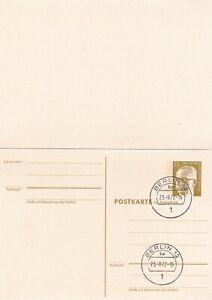 Berlin 15pf Président Heinemann Postal Stationary Carte Postale Avec Réponse Ide Très Bon état-afficher Le Titre D'origine