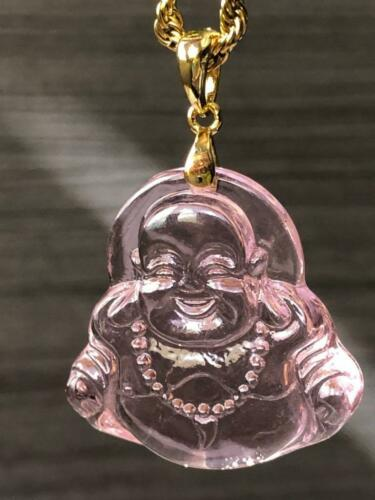 14k Gold Finish Good luck Pink Jade Smiling Buddha Rope Chain Necklace beautiful