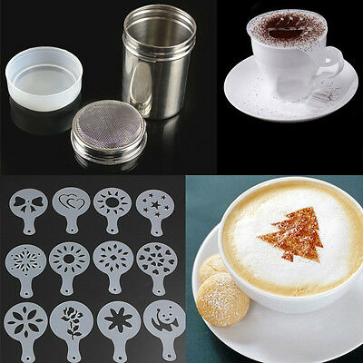 Hotsale 12PCS Coffee Barista Stencils + Stainless Steel Chocolate Shaker Duster