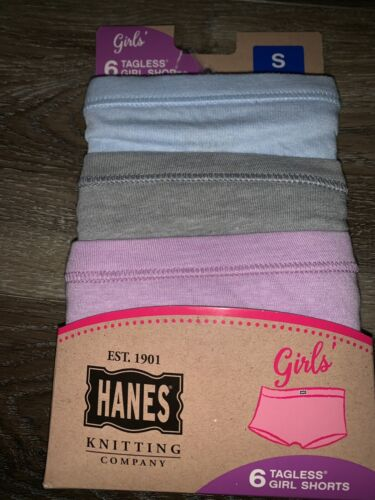 Hanes ~ Girls Boyshorts Tagless 6-Pair Underwear Knitting Company ~ Size S