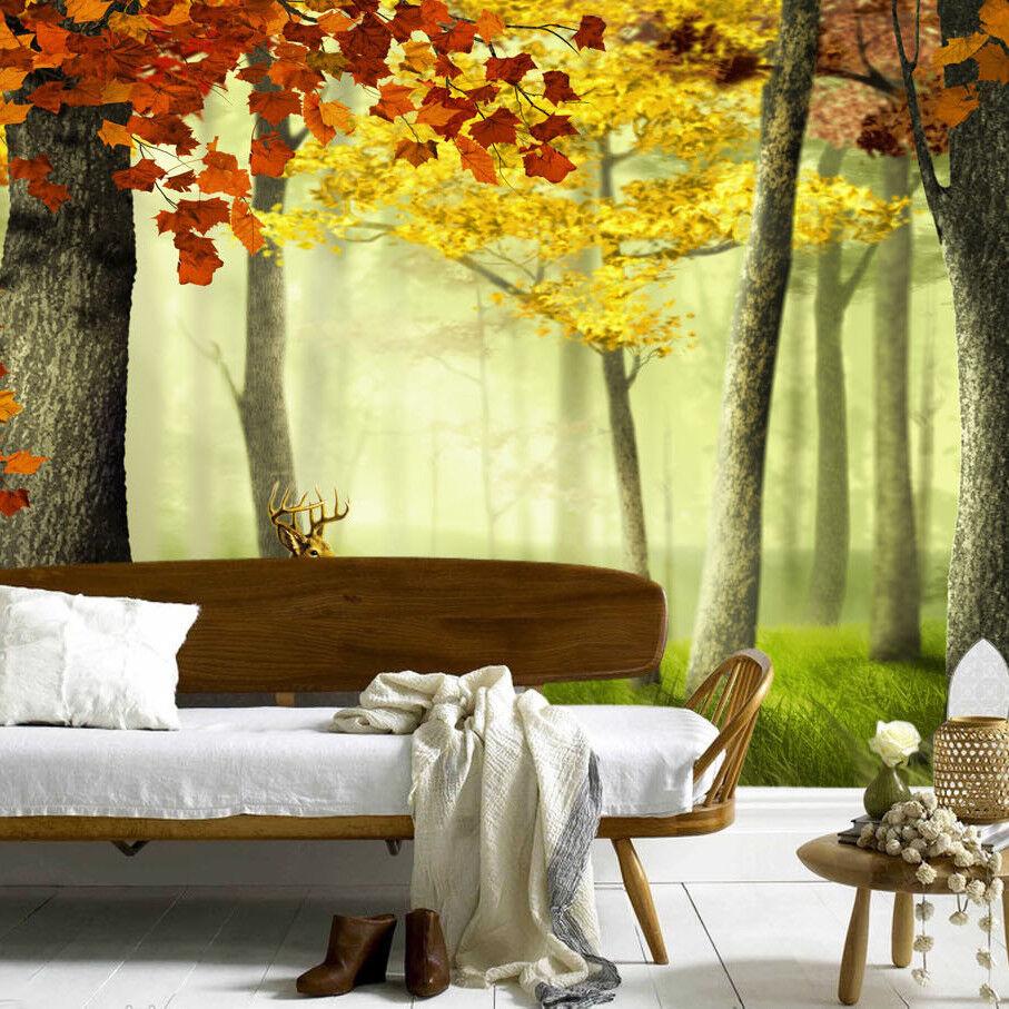 3D Nebel Wald Hirsch 73 Tapete Wandgemälde Tapete Tapeten Bild Familie DE | Luxus  | Offizielle  | Sehr gute Qualität
