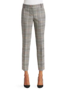 345 NWT Theory Straight Trouser Autumn Plaid Multi Pants sz 6