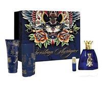 Christian Audigier 3.4 / 3.3 Oz Edt Cologne Deo Gel Mini 4 Pc Gift Set on sale