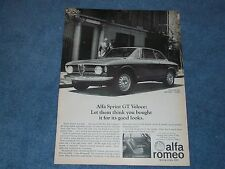 1968 Alfa Romeo Sprint GT Veloce Orignial Vintage Ad