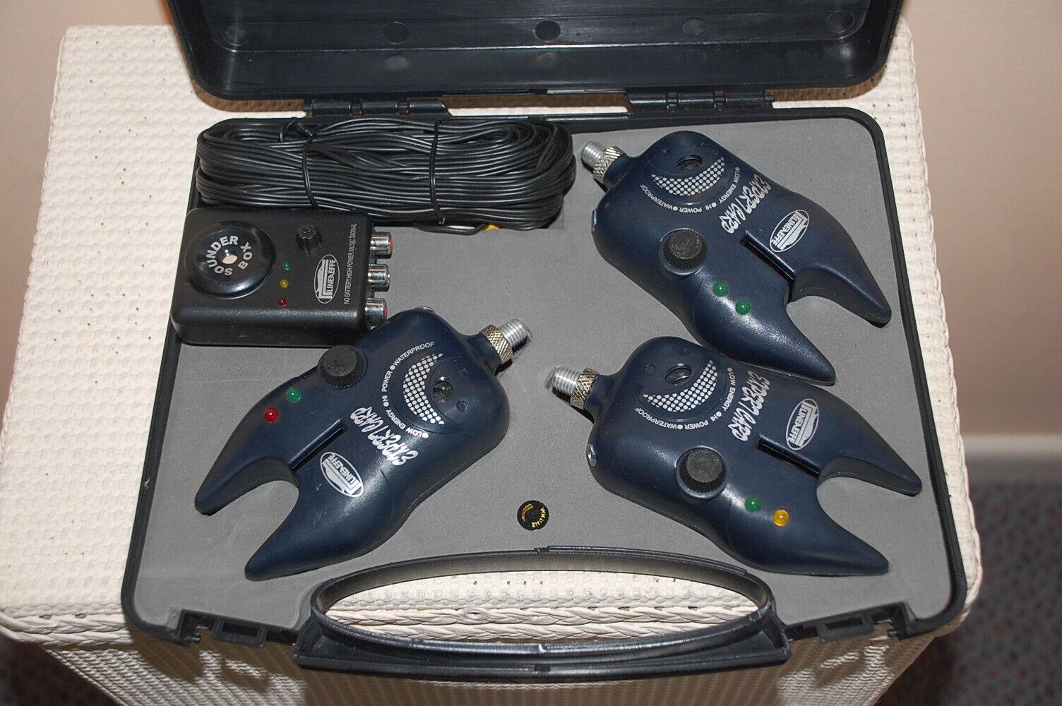 LINEAEFFE Expert autop Bite Alarm Set di 3 con Ricevitore Caso Tackle