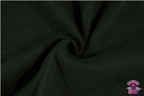 Polar Polyester Solid Fleece Black Fabric by the Yard