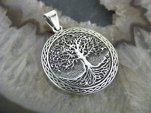 Kettenanhaenger-Baum-des-Lebens-Silber-925-Lebensbaum-Weltenbaum-Medallion-Zopf
