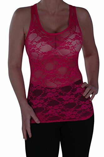 Womens Sleeveless Scoop Neck Lace Mesh Floral Racer Back Skinny Vest Tank Top