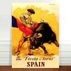 "Stunning Vintage Travel Poster Art ~ CANVAS PRINT 8x10"" ~ Spain matador Bull"