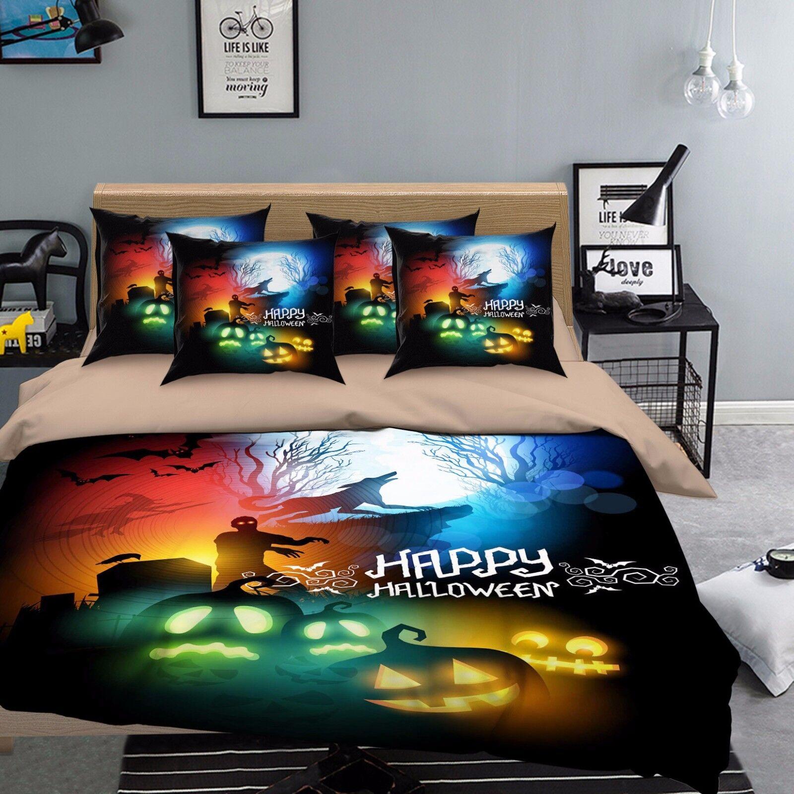 3D Pumpkin 755 Bed Pillowcases Quilt Duvet Cover Set Single Queen UK Summer