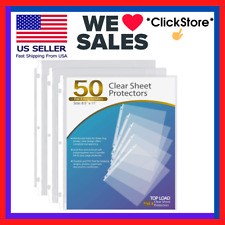 Ktrio Sheet Protectors 85x11inche Clear Page 3 Ring Plastic Letter Size 50 Pack