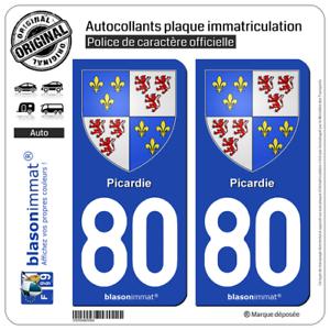 2 Stickers Autocollant Plaque Immatriculation | 80 Picardie - Armoiries Apparence éLéGante