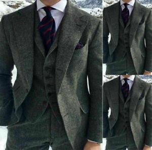 Gray-Herringbone-Wool-Men-3-Piece-Suits-Vintage-Formal-Wedding-Business-Tuxedos