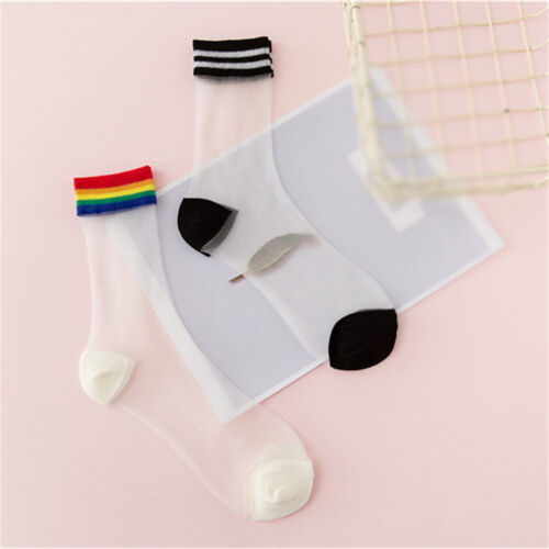 Women Fashion Transparent Socks Sheer Crystal Cute Rainbow Short Ankle Socks SN