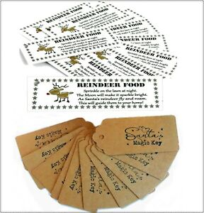 SANTA-magic-key-amp-Renna-Cibo-TAG-Etichette-Vigilia-di-Natale-senza-canna-fumaria-Craft-fai-da-te