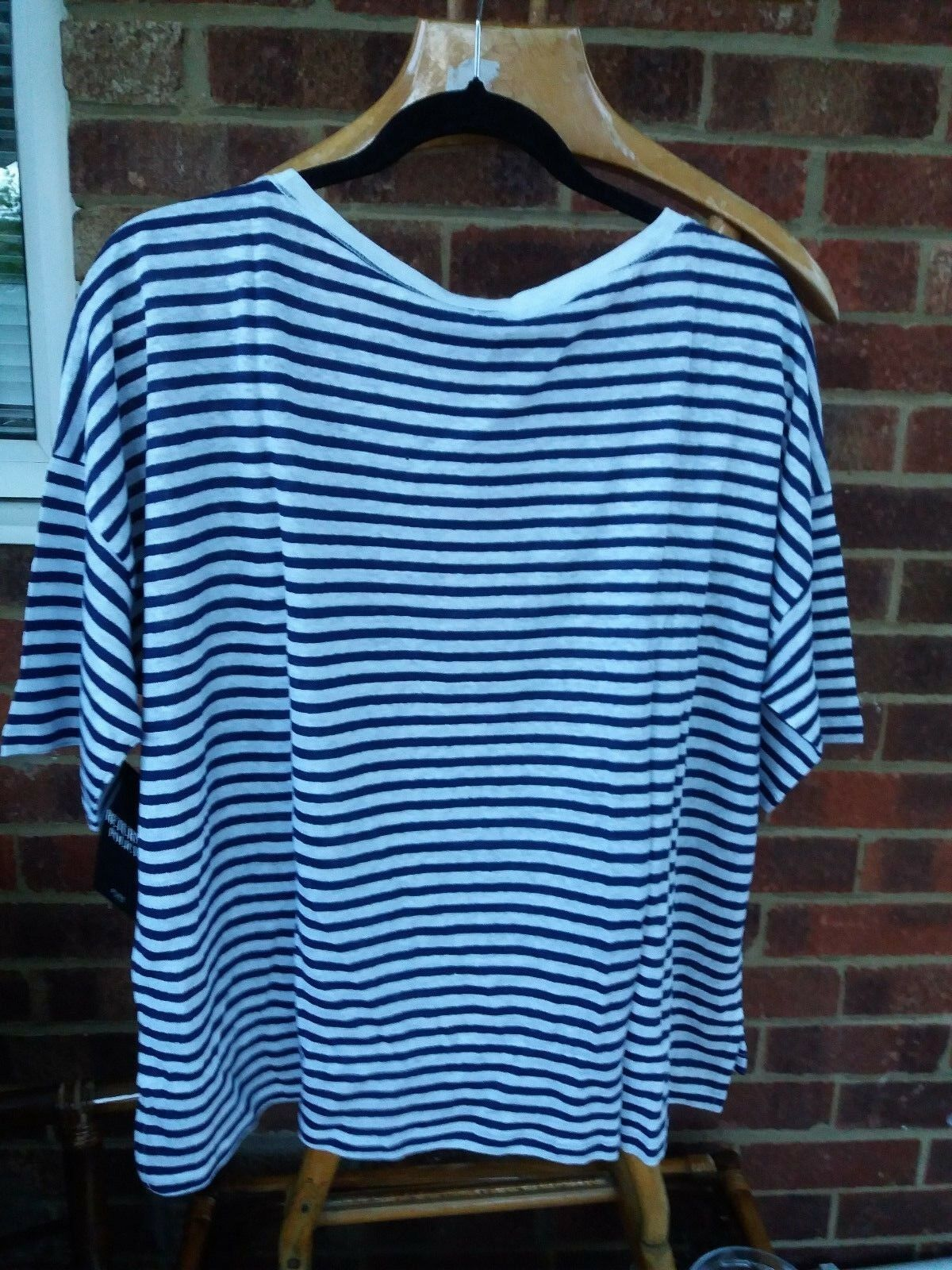 Pure Collection Lusso Biancheria rilassato T-Shirt Blu Navy Navy Navy a Righe-TG RRP a8343e
