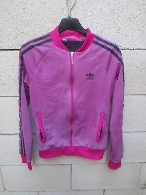 Veste ADIDAS rétro vintage rose sport détente tracktop jacket 36 | eBay