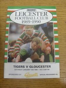 13-01-1990-Rugby-Union-Programme-Leicester-v-Gloucester-Any-faults-are-noted