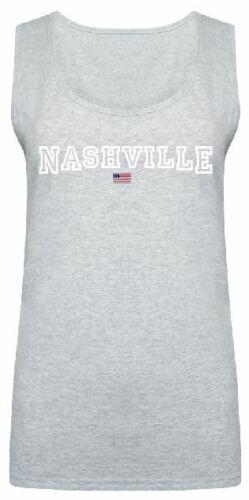 Women Ladies Nashville Slogan Print T shirt /& Vest Trendy Summer Tank Top