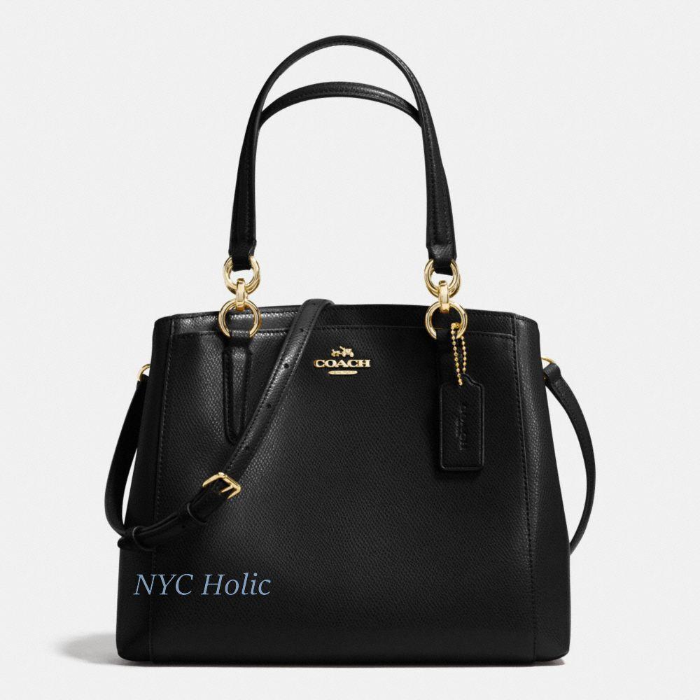 New Coach F57847 Minetta Crossbody Handbag Black Crossgrain Leather Nwt