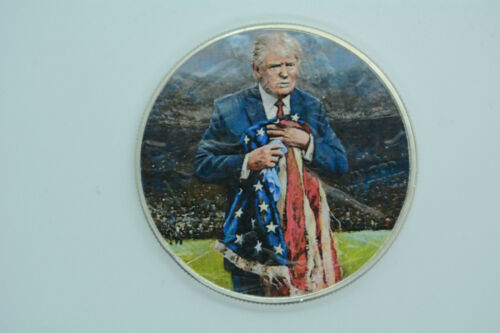 Trump Holding Tattered Flag American Silver Eagle 1oz .999 Silver Dollar Coin