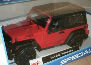 2014-Jeep-Wrangler-Rojo-1-18-Escala-Modelo-Diecast-Edicion-Especial-Coche-Maisto