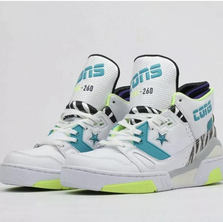 Converse ERX 260 Size 10 MEN& 039;S Mid Animal White Rapid Teal Court Purple shoes