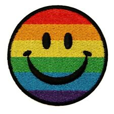 Smiley Rainbow Happy Face Iron On Applique Patch
