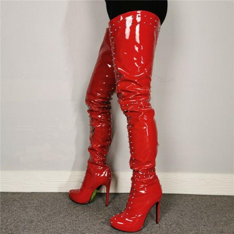 Damen Nieten Overknee Schenkelhohe Stiletto High Heel Lederoptik Stiefel 44-47