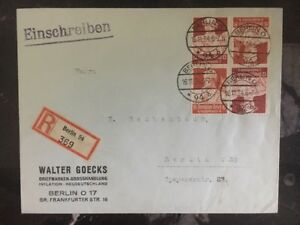1934 Berlin Germany Commercial Registered Cover Domestic Stamps Error