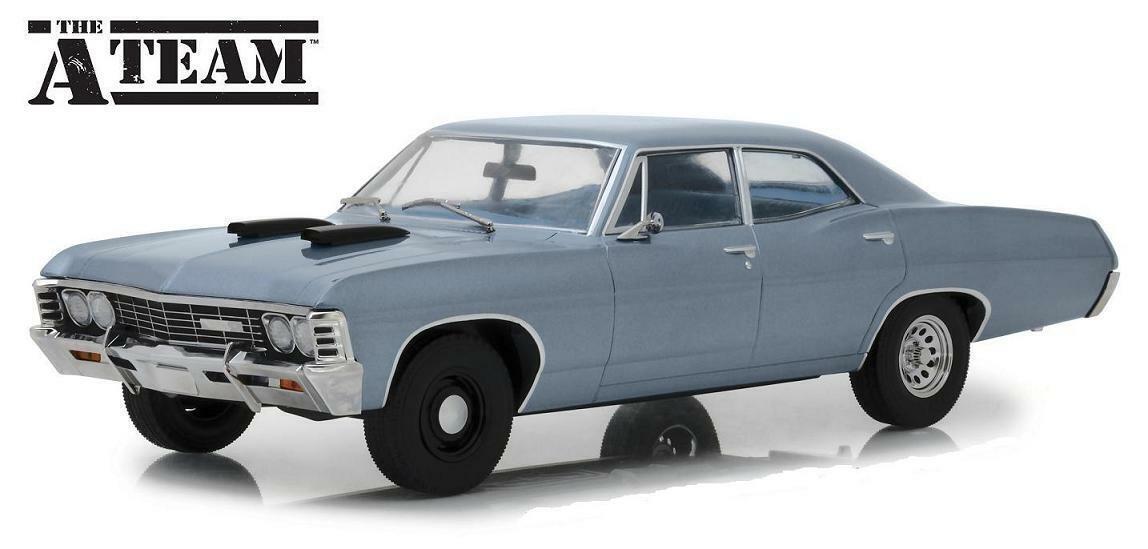 vertlumière 1 18 The A-Team 1967 Chevrolet Impala Berline  moulé sous pression en acier bleu 19047  économiser sur le dédouanement