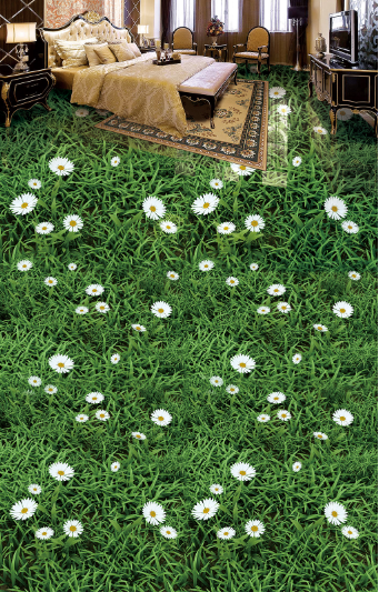 3D Daisys Grass 452 Floor WallPaper Murals Wall Print 5D AJ WALLPAPER UK Lemon