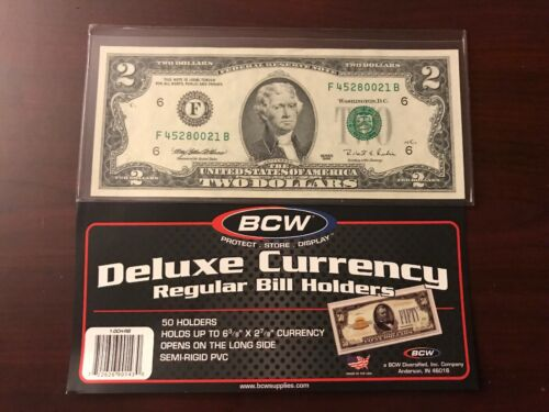 5 x SMALL BCW DELUXE CURRENCY SLEEVE BILL NOTE HOLDERS PAPER MONEY SEMI RIGID
